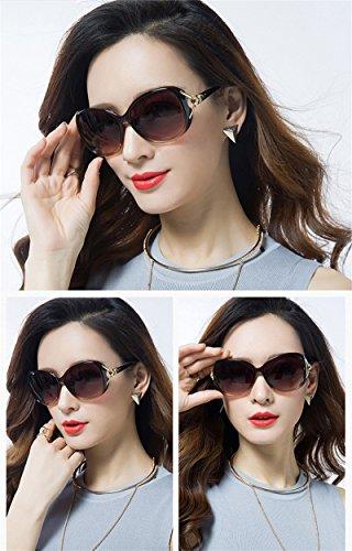 moda protección para Gafas 100 Head Round UV de Marrón de Bright sol Fox de Black Gafas 1 WeiMay mujer sol 8afO67fq