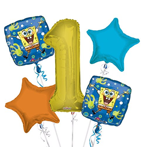 Sponge Bob Balloon Bouquet 1st Birthday 5 pcs - Party -