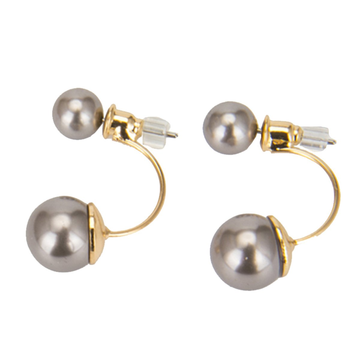 Double Ball Earrings Ear Jacket Pearl Earrings Classic Pearl Stud Earrings Two Grey Round Pearl LIANKONG ER00113