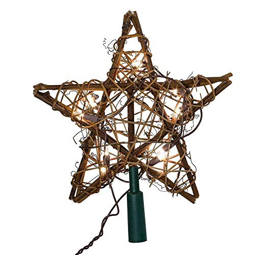 Kurt Adler 10 Light Indoor Rattan Natural Star Treetop from Kurt Adler