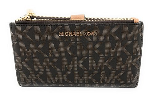 Michael Kors Jet Set Travel Double Zip Wristlet - Brown/Acorn