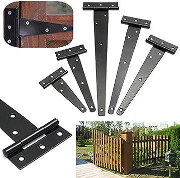 Bisagra en T de hierro negro para puerta de cobertizo, puerta de jardín, puerta de madera