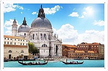 ヴェネツィアの建物川ゴンドラ人63205のティンサイン 金属看板 ポスター / Tin Sign