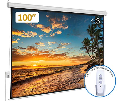 Motorized Projector Screen 100 inch Diagonal 4:3 with Remote Control | Office Home Theater Wall/Ceiling Mount Auto Power Electric Movie Screen