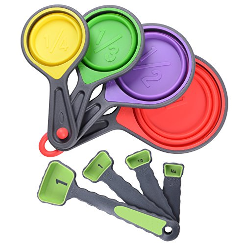 Measuring Cups and Measuring Spoons Set - 8 Piece Silicone Collapsible Measurement Tools for Dry and Liquid Ingredients - Multifunctional Kitchen Measuring Utensils BPA Free and Non Toxic, Colorful