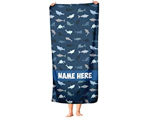 Extra Large Personalized Colorful Pattern Shark Towel for Kids - Oversized Custom Travel Beach Pool and Bath Towels for Adults Toddler Baby Boys Girls