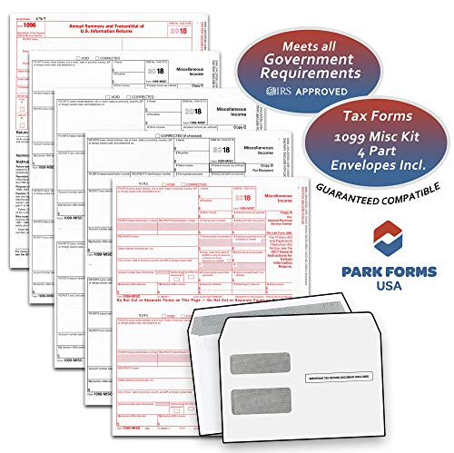 - 2018 Laser Tax Forms - 1099-MISC Income & Self Seal Envelope Kit (4-Part Set) for 25 Individuals - Park Forms