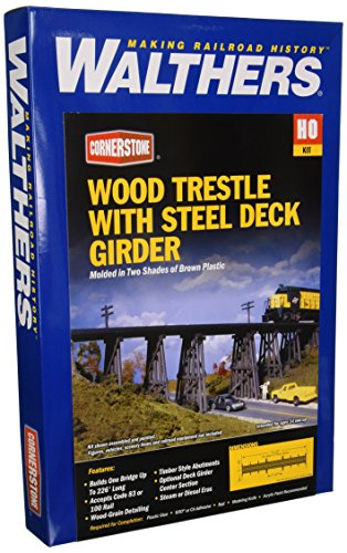 Walthers Cornerstone Series Kit HO Scale Trestle w/Steel Deck Girder (Girder Bridge Kit)