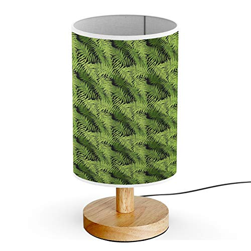 ARTSYLAMP - Wood Base Decoration Desk Table Bedside Light Lamp [ Fern Leaf ] ()