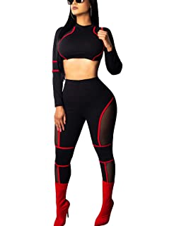82a8d35073b2 BORIFLORS Women s Sexy 2 Piece Outfits Club Jumpsuit Long Sleeve Crop Top  and Pants Set
