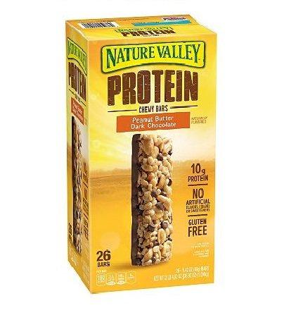 Nature Valley Protein Peanut Butter Dark Chocolate Gluten-free Chewy Bars (1.42 oz., 26 pk.) (Nature Valley Peanut Butter Dark Chocolate Protein Bars)
