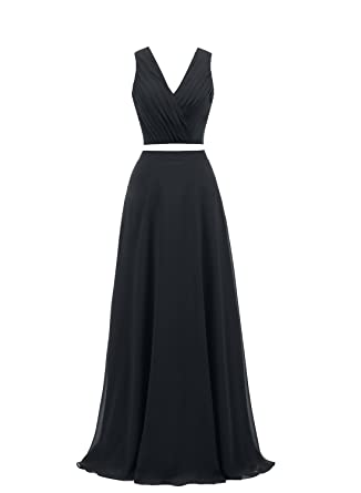 Dressytailor Two Piece V-neck Long Chiffon Prom Dress Homecoming Dress