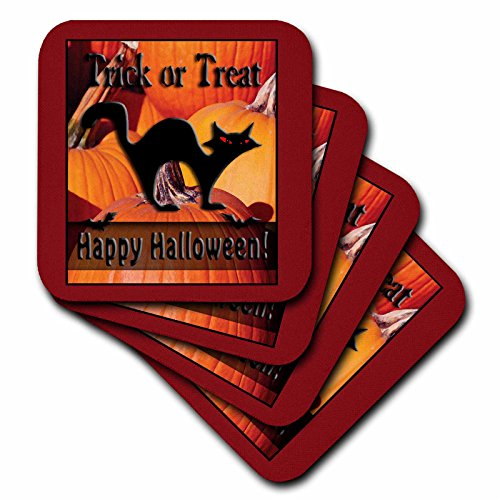 3dRose LLC Black Cat on Pumpkins Trick Or Treat Happy Halloween Ceramic Tile Coaster, Set of (Cat Tile Coaster)