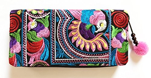 Wallet by WP Embroidery Bird Multicolors Zipper Wallet Purse Clutch Bag Handbag Iphone Case Handmade for Women