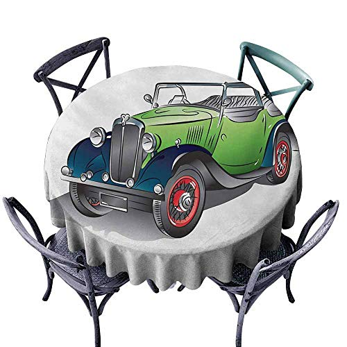 Snadkil Waterproof Tablecloth Cars Hand Drawn Convertible Vintage Green Car with Colorful Rims Retro Vehicle Design Print Green Gray Party D39
