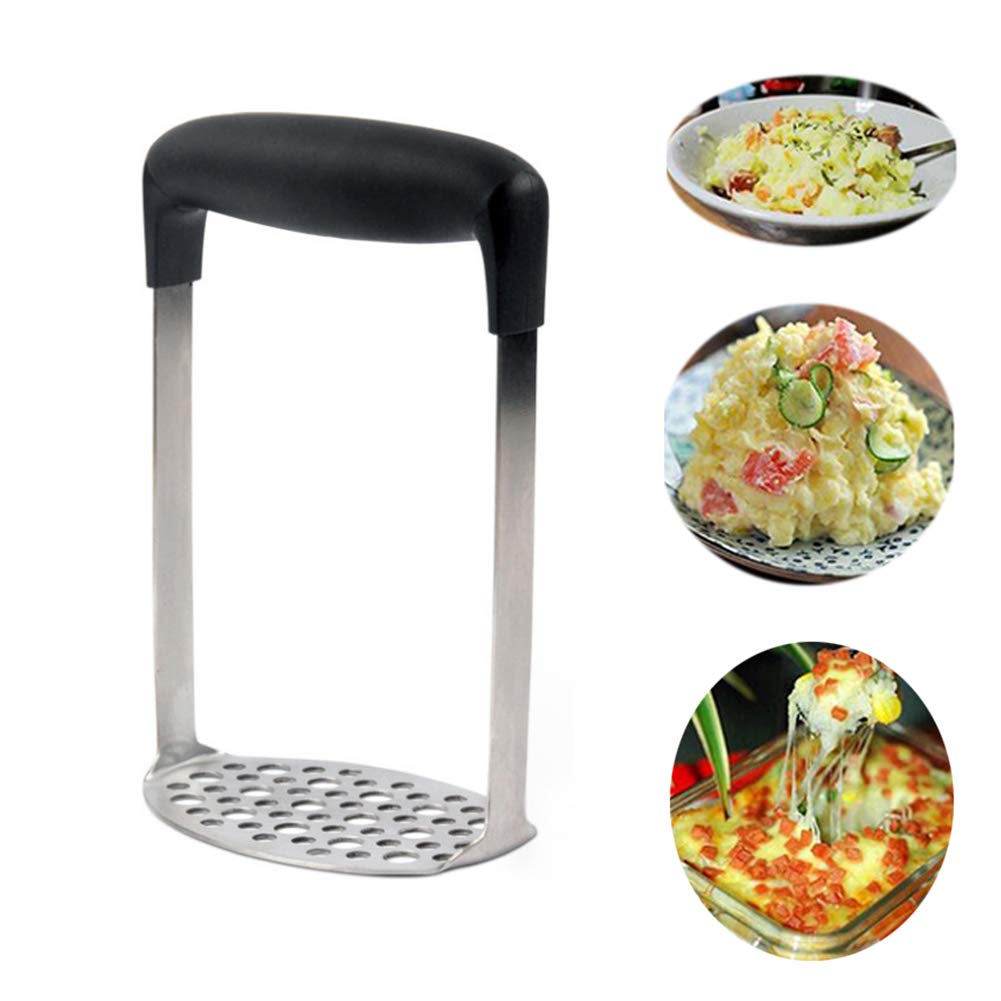 1xToruiwa Potato Masher Ricer Vegetable Fruit Crusher Stainless Steel Potato Pressing Tool with Plastic Anti-Slip Handle for Potato Mud Making Kitchen Accessories