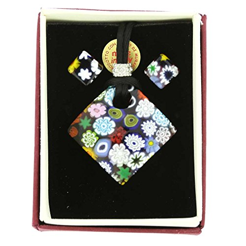 GlassOfVenice Murano Glass Millefiori Necklace and Earrings Set - Diamond - Murano Glass Earrings Set