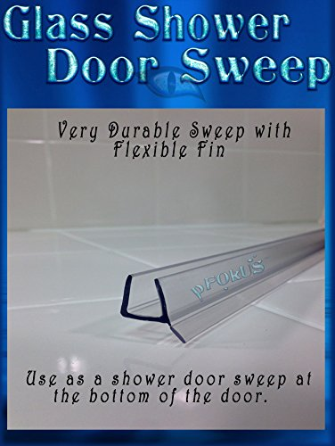 DS9382 3/8'' Glass- Frameless Shower Glass Door Clear Sweep, Wipe, Seal 36'' Length Free 4oz Valore Glass Sealer