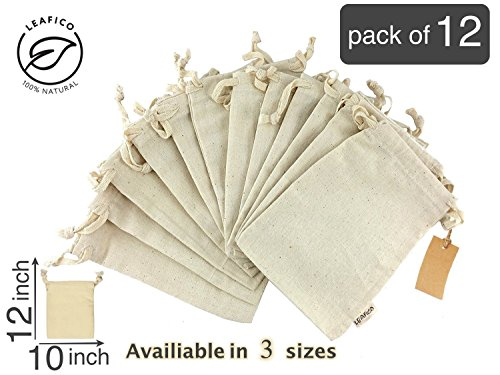 Produce Storage, Reusable & Multipurpose Muslin Bags With Drawstring, Large 10x12 inches, Sachet Bags, Canvas Bags, Home and Vegetable Storage, Holiday Gift Bag, Linen Bag, 12 count pack Leafico