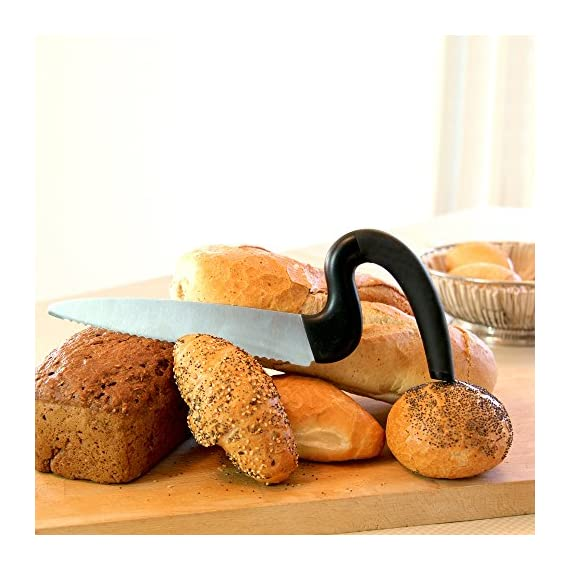 Brix Aergo Saw-Style Bread Knife, 8-Inch 2 <p>Brix Aergo Saw-Style Bread Knife slices with precise control and less wrist strain. The curved soft-grip, non-slip handle keeps your hand elevated for comfortable control while the stainless steel blade slices all the way through the loaf. It gently slices homemade breads when cut warm out of the oven and easily slices through crustier bakery and artisan breads, all of which can be difficult to cut clean, uniform pieces. The Aergo Saw-Style Bread Knife will quickly become one of your go-to kitchen tools. Easy to clean - simply pop it in the dishwasher. Brix is a family-owned and operated company based in Denmark. The two brothers, Christian Brix-Hansen (Harvard MBA, Civil Economist) and Joachim Brix-Hansen (Civil Economist) design their award-winning products as simple solutions for the culinary market. Aergo Saw-Style Bread Knife easily slices loaves of bread wit less effort preventing wrist strain; 8-inch stainless steel blade Curved soft-grip; non-slip handle is ergonomically designed to reduce wrist strain Serrated knife easily and uniformly slices delicate warm homemade breads or crusty artisan breads Great for slicing all varieties of breads: French; Italian; Sourdough; Irish soda bread; Kaiser rolls; bagels; baguettes; and more Made in Denmark; dishwasher safe for easy cleanup</p>