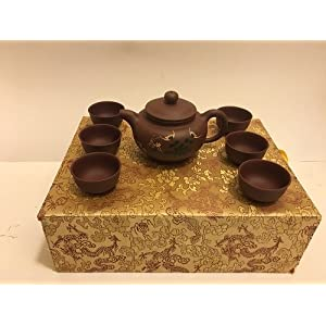 Authentic Chinese Yixing Zisha (Purple Clay) Teapot Set (7 Pieces) in a Beautiful Custom Made Box