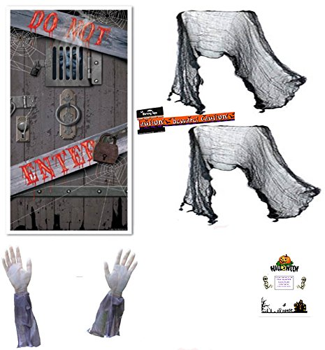 Zombie Decorations Kit Halloween Set Zombie Arms Door Cover Warning Tape Creepy Cloth Bonus Idea Guide Bundle (Halloween Door Cover Ideas)