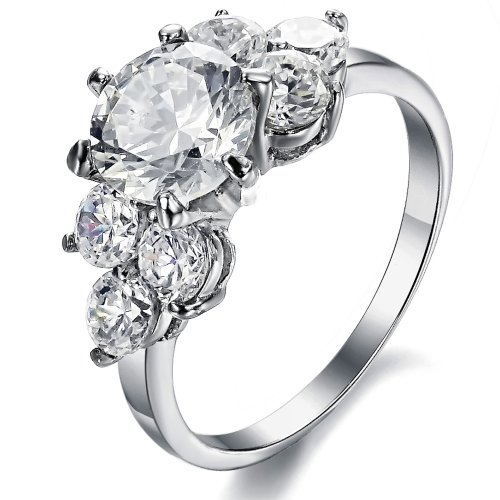 OPK Jewelry Three Stone Engagement Ring for Women Stainless Steel Finger Ring Bands Cubic Zirconia Cz Inlaid. - Size 7