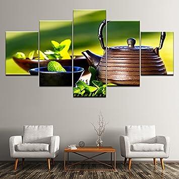 Gut Design PT Wandkunst HD Prints Dekor Moderne Wohnzimmer Rahmen 5 Stück  Wasserkocher Schüssel Grün Blätter Gemälde