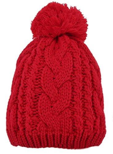 Veenajo Men / Women Winter Hand Knit Faux Fur Pompoms Slouchy Beanie Hat (Red)