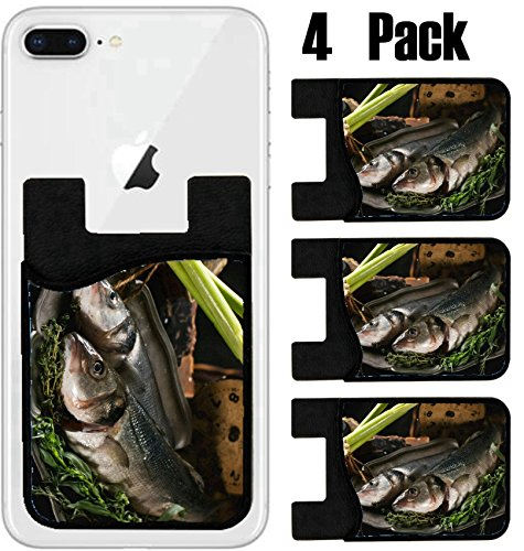 MSD Phone Card holder, sleeve/wallet for iPhone Samsung Android and all smartphones with removable microfiber screen cleaner Silicone card Caddy(4 Pack) Still life with raw fish seabass herbs vegetabl