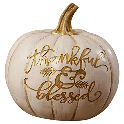 Your Heart's Delight Thankful & Blessed Embossed Goldtone White 6 x 6.5 Inch Polyresin Pumpkin Figurine -
