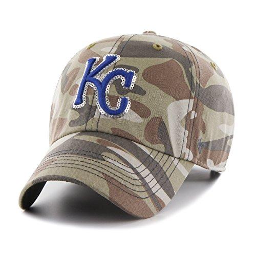 ('47 MLB Kansas City Royals Women's Sparkle Camo Clean Up Hat, Women's, Faded Camo)