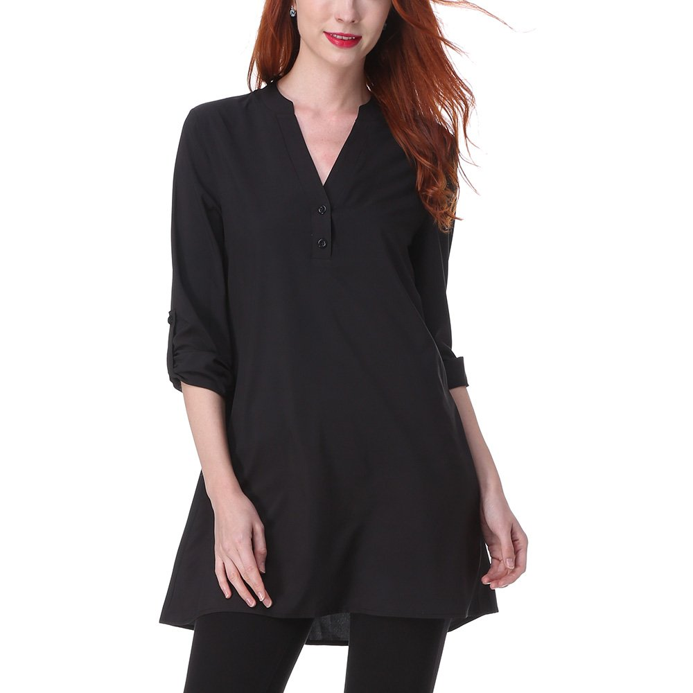 70612e8da14 Comfortable and breathable, a little bit sheer chiffon fabric.Loose  fitting. Features: Pull on closure. v neck, short sleeve t-shirt blouse,  solid color, ...