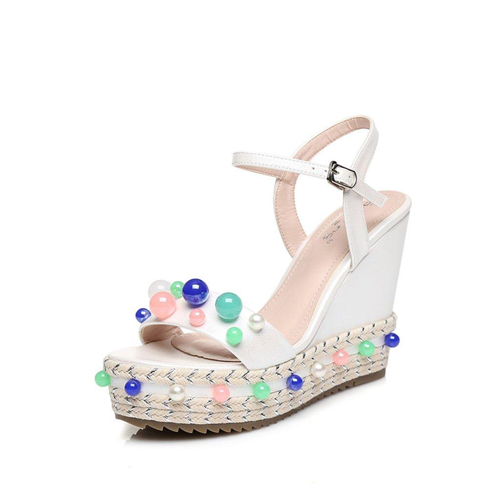 Sandali ZHIRONG donna estate piattaforma impermeabile perline coloreate tessuto cunei vintage boemia fondo spesso scarpe da spiaggia 10,5 cm (colore   Bianca, dimensioni   EU36 UK4 CN36)