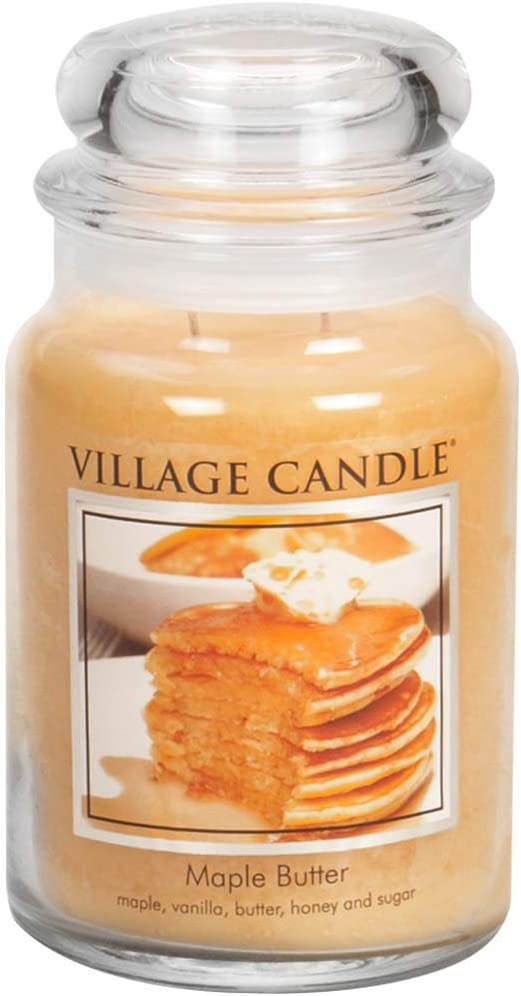 Amazon.com: Village Candle Maple Butter 26 oz Glass Jar Scented Candle, Large: Home & Kitchen