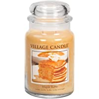 Village Candle Maple Butter Large Glass Apothecary Jar Scented Candle, 21.25 oz, Yellow