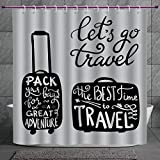 Coca Cola Shower Curtain SCOCICI Fun Shower Curtain 2.0 [ Adventure,Packing The Bags and Traveling World Journey and Fun Themed Work of Art Print Decorative,Black White ] Polyester Fabric Bathroom Shower Curtain