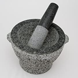 Libertyware Stone Granite Mortar and Pestle 4 Cup Capacity, 8 Inch, Gray 25 Beautifully Crafted 2 Tone Granite 8 Inch Outside Diameter 6 Inch Inside Diameter 4+ Cup Capacity