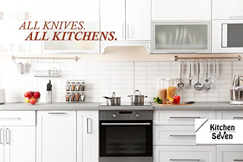 Large Product Image of Kitchen Seven Premium Chef Universal Knife Block - Stainless Steel Kitchen Knife Holder(Without Knives)- Round Space-Saver Knife Storage Stand safely stores knives while keeping blades clean and sharp