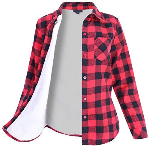 Ladies Code Womens Sherpa Fur Lined Plaid Flannel Button Down Shirt