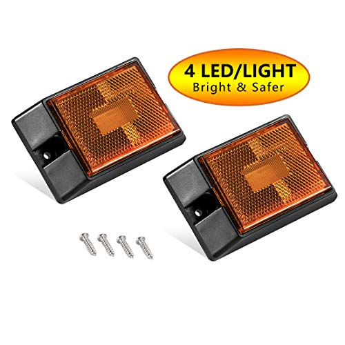 CZC AUTO LED Amber Side Marker Lights, Sealed Submersible LED Clearance Reflector Lamps kit, Waterproof Trailer Running Lights Replacement for 12V Boat Trailer Truck Marine RV, Copper Wire (Amber, 2)
