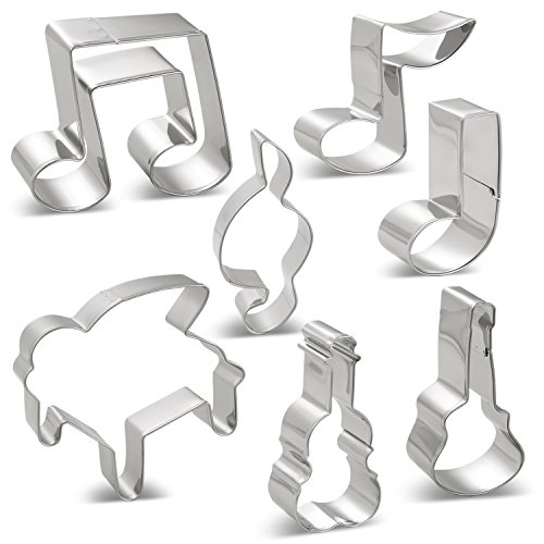 Music Notes Cookie Cutters Set - 7 PCS - G Clef, Eighth Note, 2 Eighth Note, A Quarter Note, Piano, Violin and Guitar - Stainless Steel