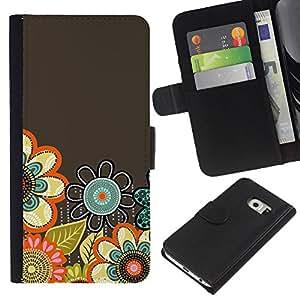 EJOY---La carpeta del tirón la caja de cuero de alta calidad de la PU Caso protector / Samsung Galaxy S6 EDGE / --Pastel resorte drenado mano florece Gris