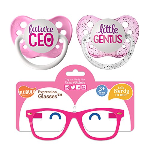 Ulubulu Pacifier Future CEO and Little Genius Designs/Expression Glasses, Pink, 6-18 Months (Sun Skin Soothers)