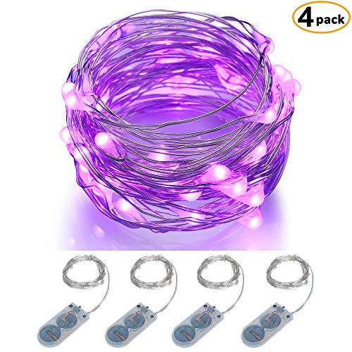 ITART Micro LED String Lights Battery Powered Set of 4 Purple Mini String Light 20 LEDs / 6ft (2m) Ultra Thin Silver Wire Rope Lights for Christmas Trees Wedding Parties -