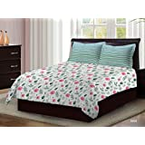 Bombay Dyeing Axia Collection 104 TC 100% Cotton Flat Double Bedsheet with 2 Pillow Cover (Pink) 220 x 240 cm