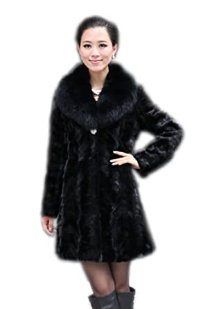 cbc0ea8379 Queenshiny Long Women's 100% Real Mink Fur Coat with Fox Collar at Amazon  Women's Coats Shop