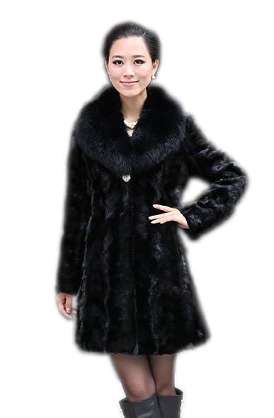 Amazon.com: Queenshiny Women's Long Mink Fox Collar Fur Coat: Clothing