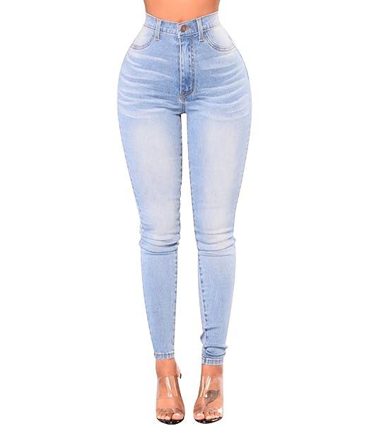 ISSHE Pantalones Vaqueros Cintura Alta Mujer Jeans Talle ...
