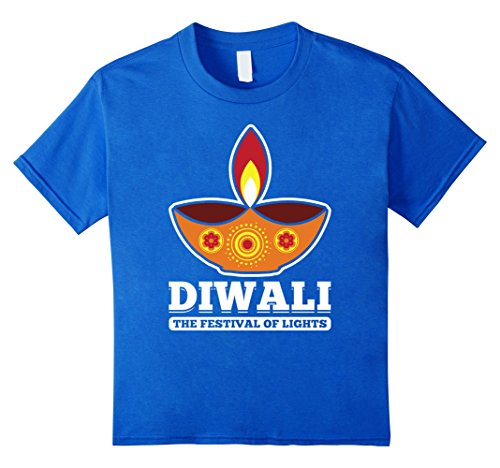 Kids Diwali Festival Of Lights Candle Style India Holiday T-Shirt 8 Royal Blue by Diwali Hindu Vibes Tees